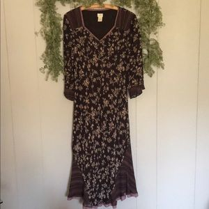 J.JIL Rayon Mix Media scarf lace Hem Dress Sz 14